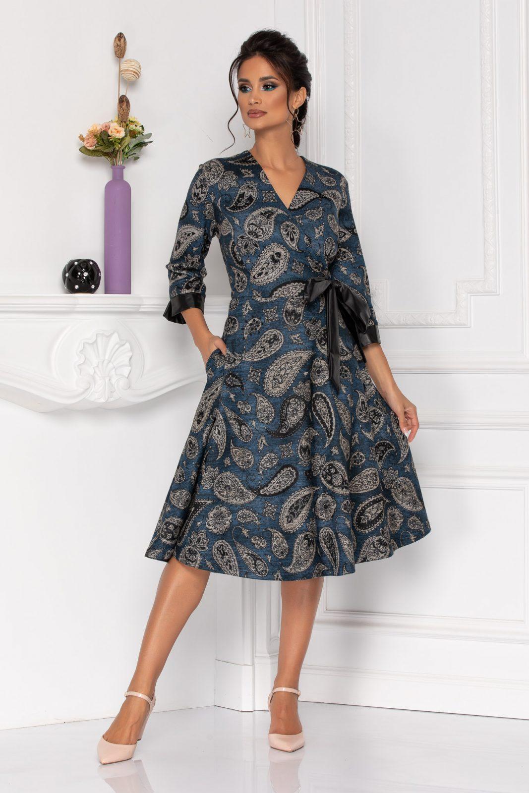Μίντι Μπλε Φόρεμα Με Φιόγκο Priya 8411
