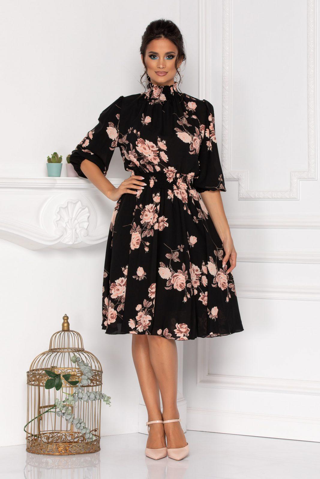 Μίντι Μαύρο Φλοράλ Φόρεμα Kim 8414