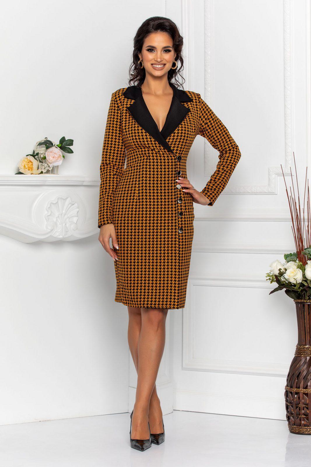 Μουσταρδί Καρό Φόρεμα Coline 8567 1