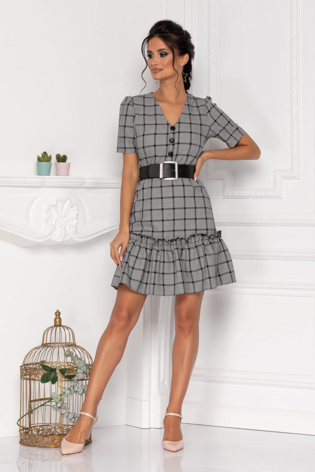 Γκρι Καρό Φόρεμα Alexia 8458