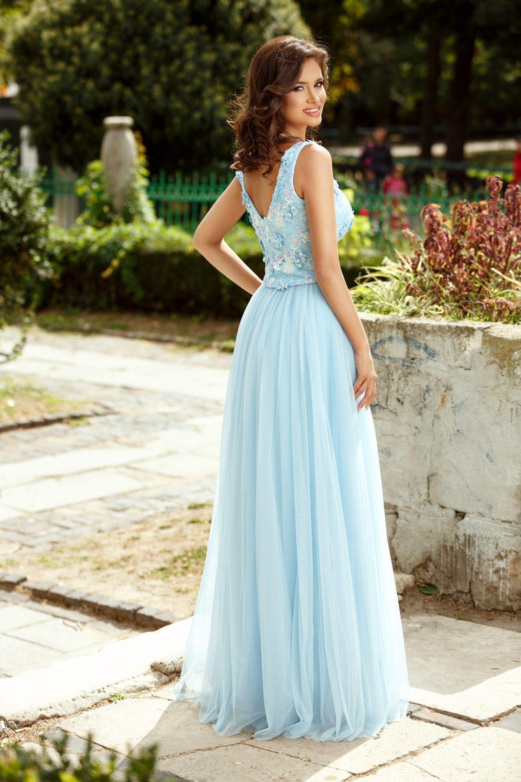Μάξι Γαλάζιο Βραδινό Φόρεμα Celebre 8401