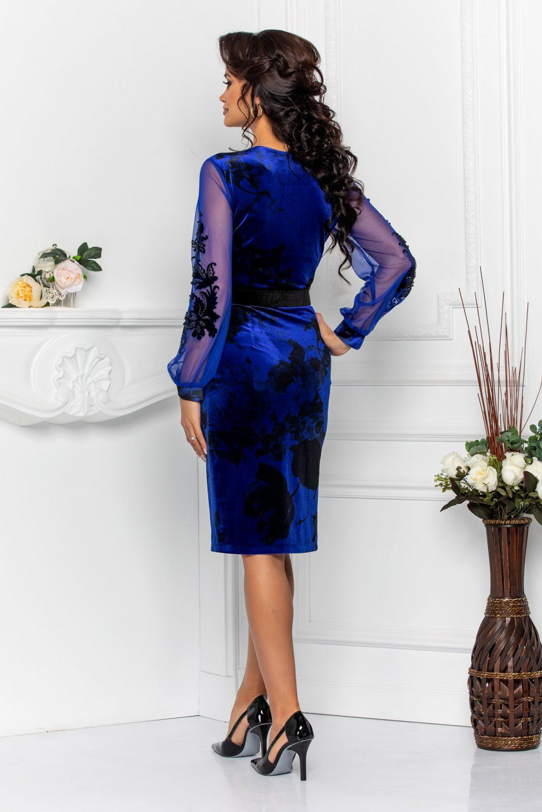 Μπλε Μίντι Βραδινό Φόρεμα Fleur 8547