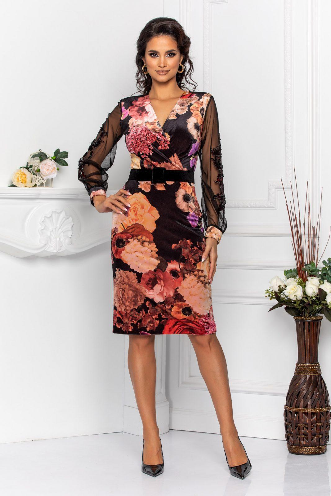 Μαύρο Μίντι Φλοράλ Φόρεμα Fleur 8546