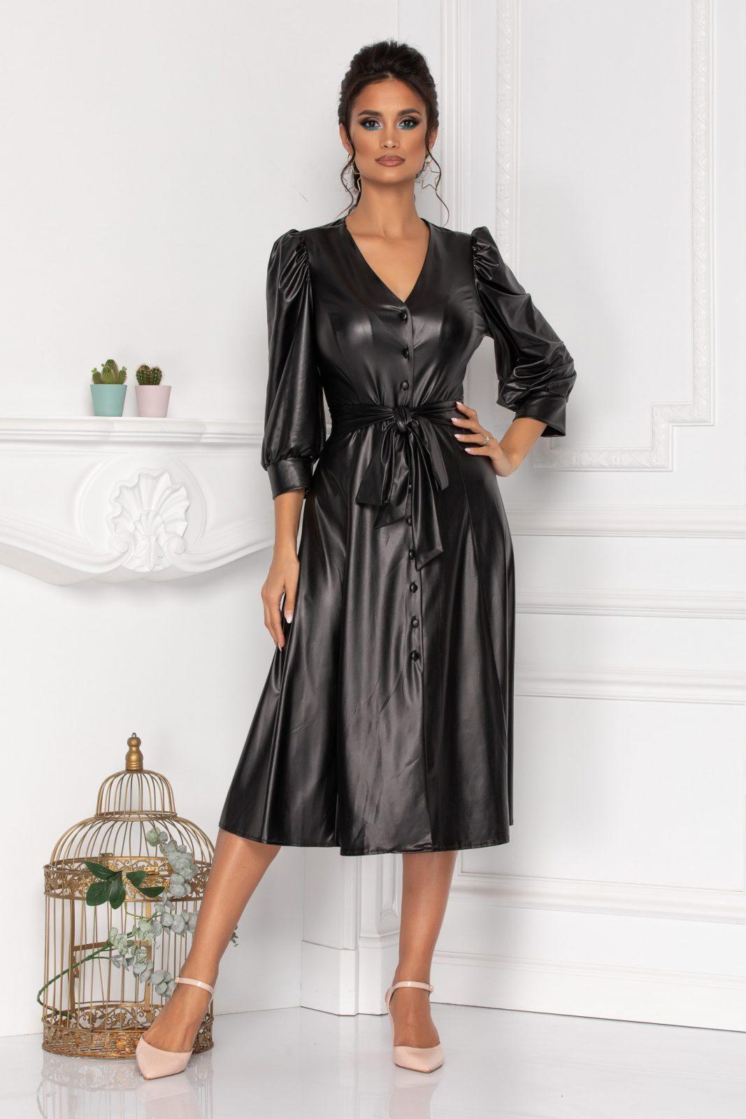 Μαύρο Φόρεμα Από Δερματίνη Camellia 8450