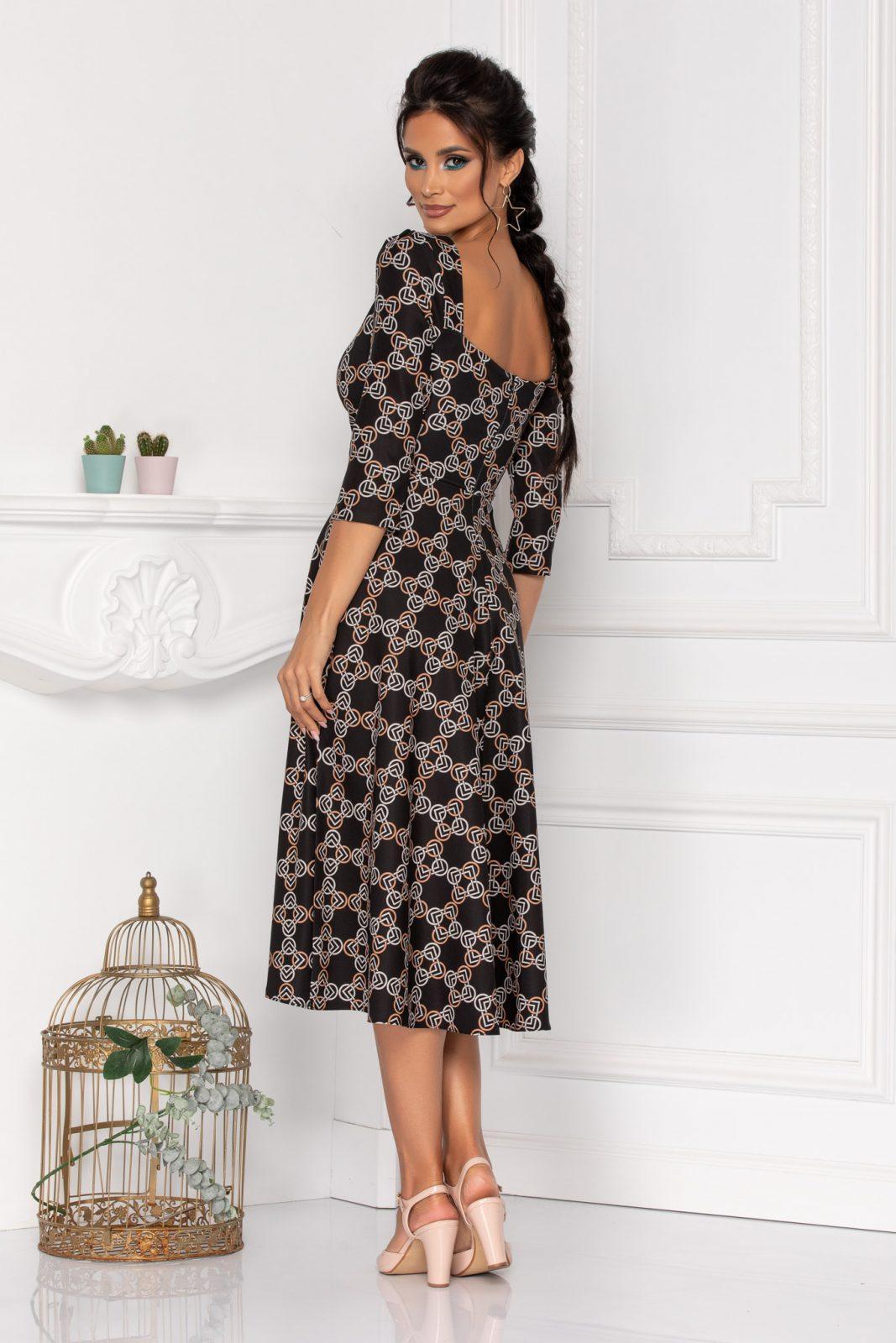 Μαυρο Φόρεμα Με 3/4 Μανίκι Hariett 8447 3