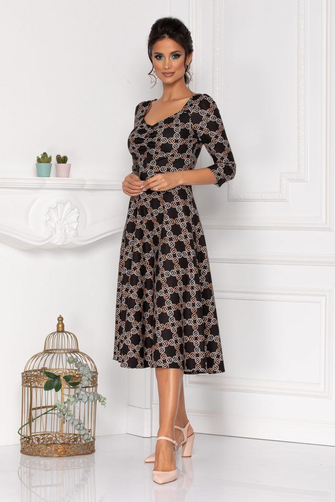 Μαυρο Φόρεμα Με 3/4 Μανίκι Hariett 8447 4