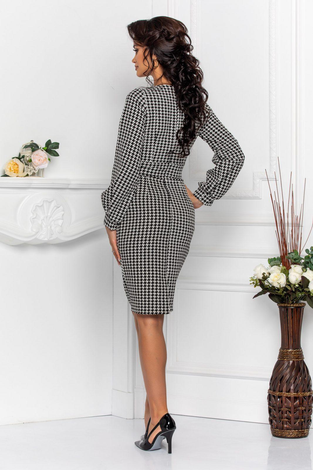 Ασπρόμαυρο Κρουαζέ Καρό Φόρεμα Irisa 8592 1