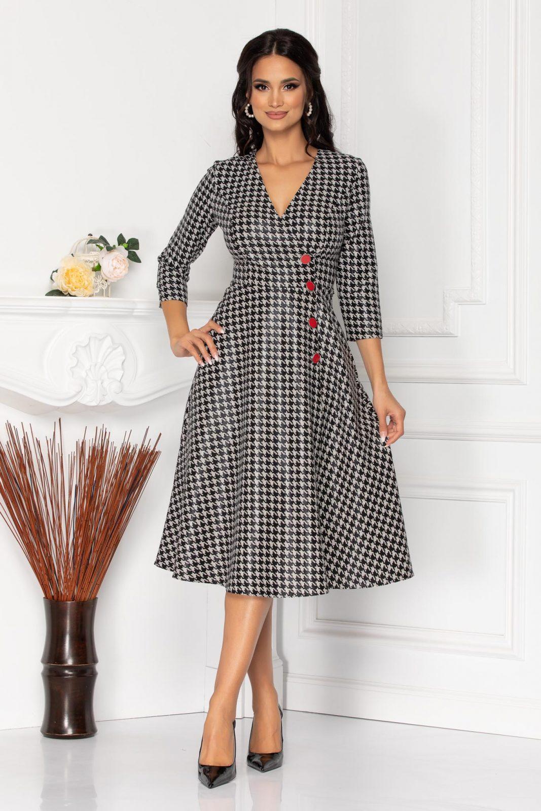 Ασπρόμαυρο Μίντι Καρό Φόρεμα Shirley 8532