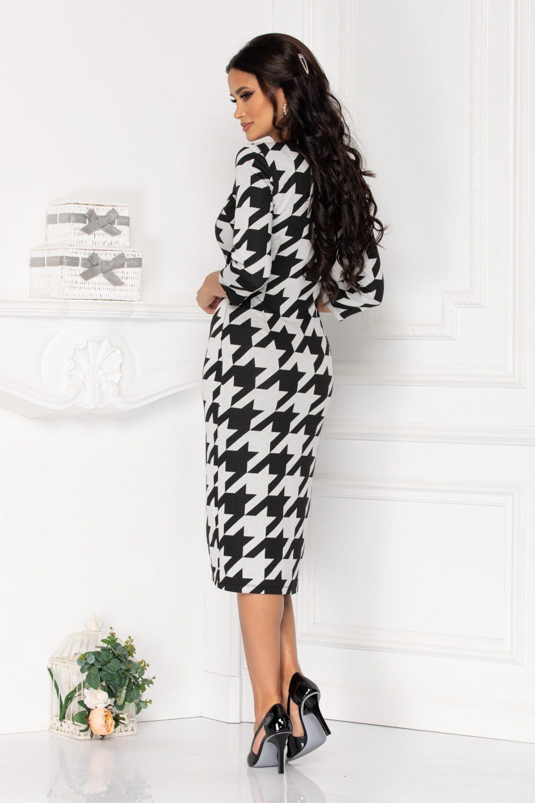 Ασπρόμαυρο Μίντι Κρουαζέ Φόρεμα Treva 8522 1