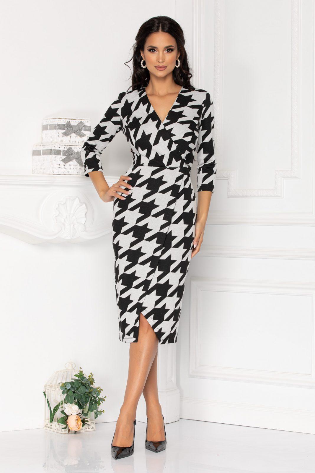 Ασπρόμαυρο Μίντι Κρουαζέ Φόρεμα Treva 8522 2