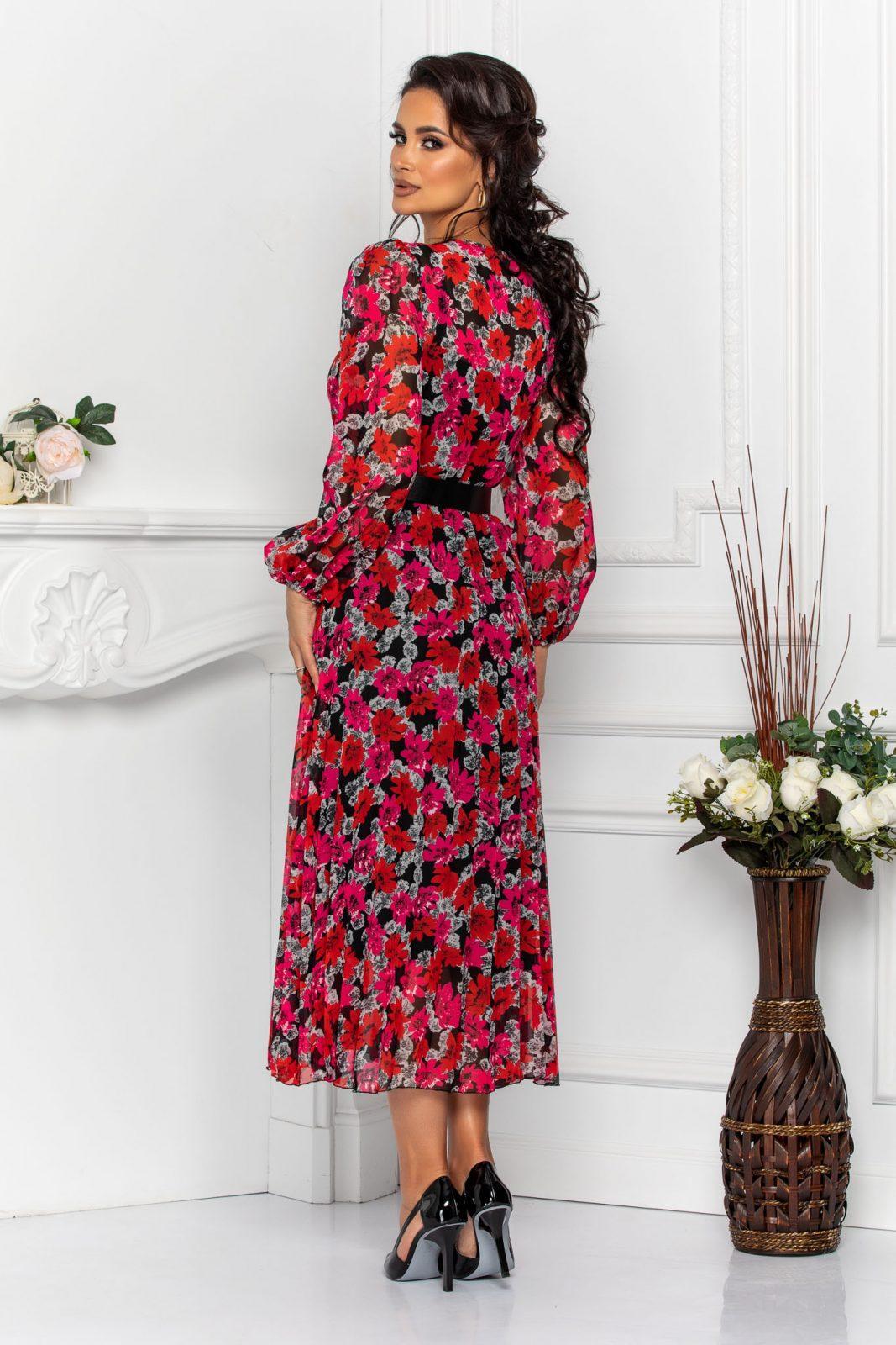 Φούξια Φλοράλ Φόρεμα Με Μαύρη Ζώνη Malina 7577