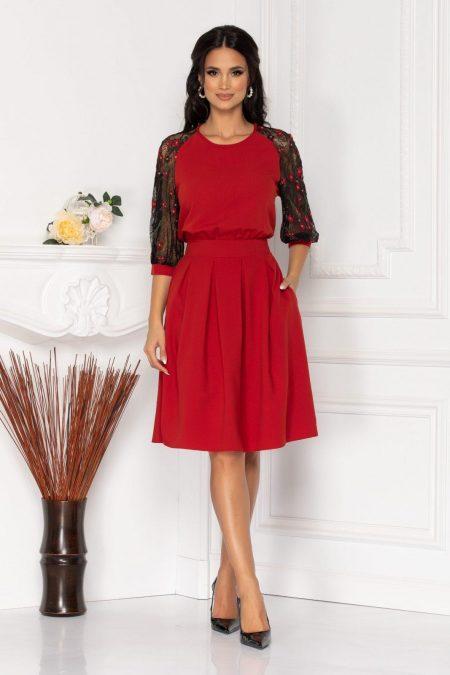 Μπορντό Φόρεμα Με Διάφανα Μανίκια Evans 8518