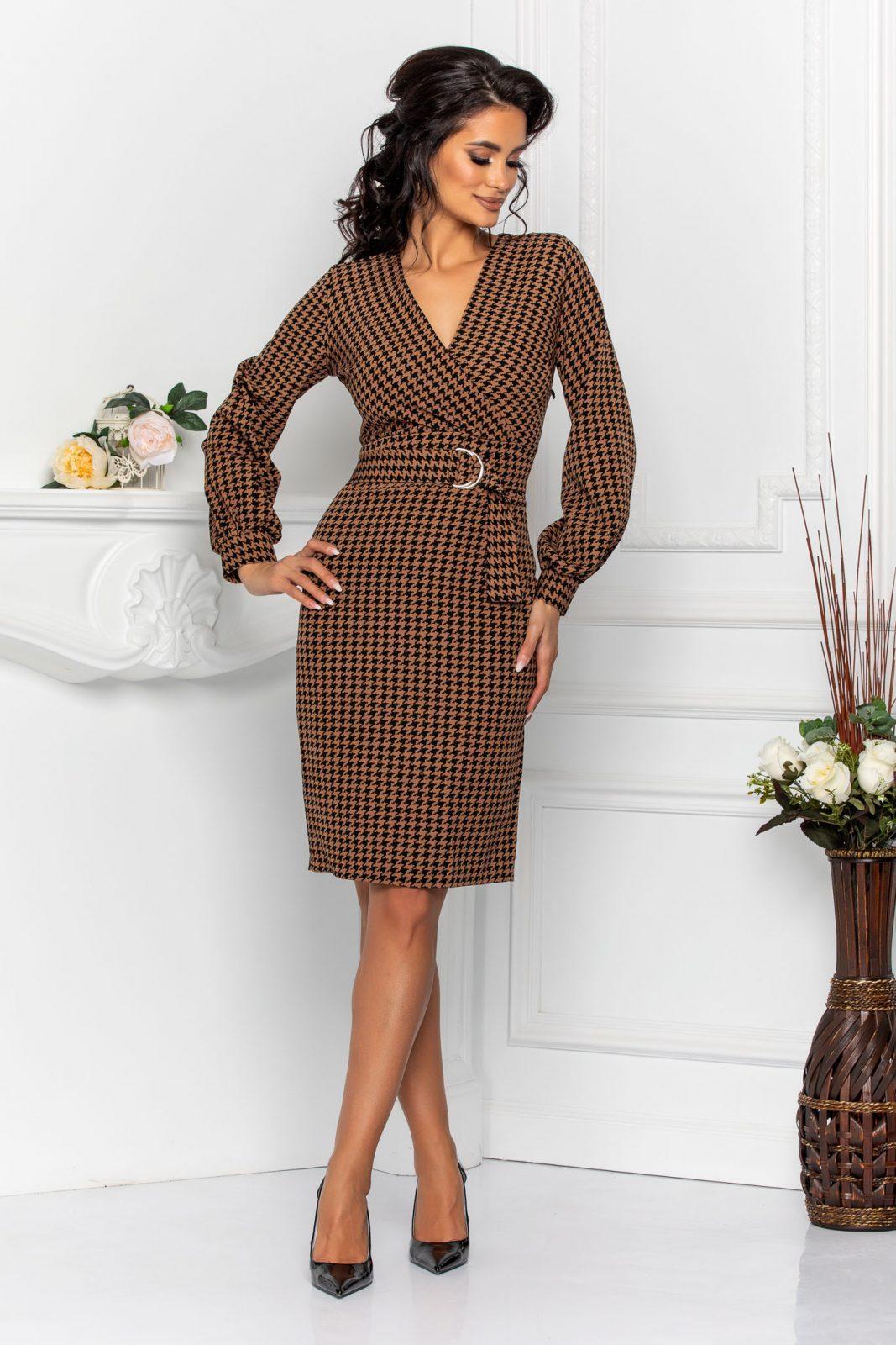 Κρουαζέ Καφέ Καρό Φόρεμα Irisa 8595 2