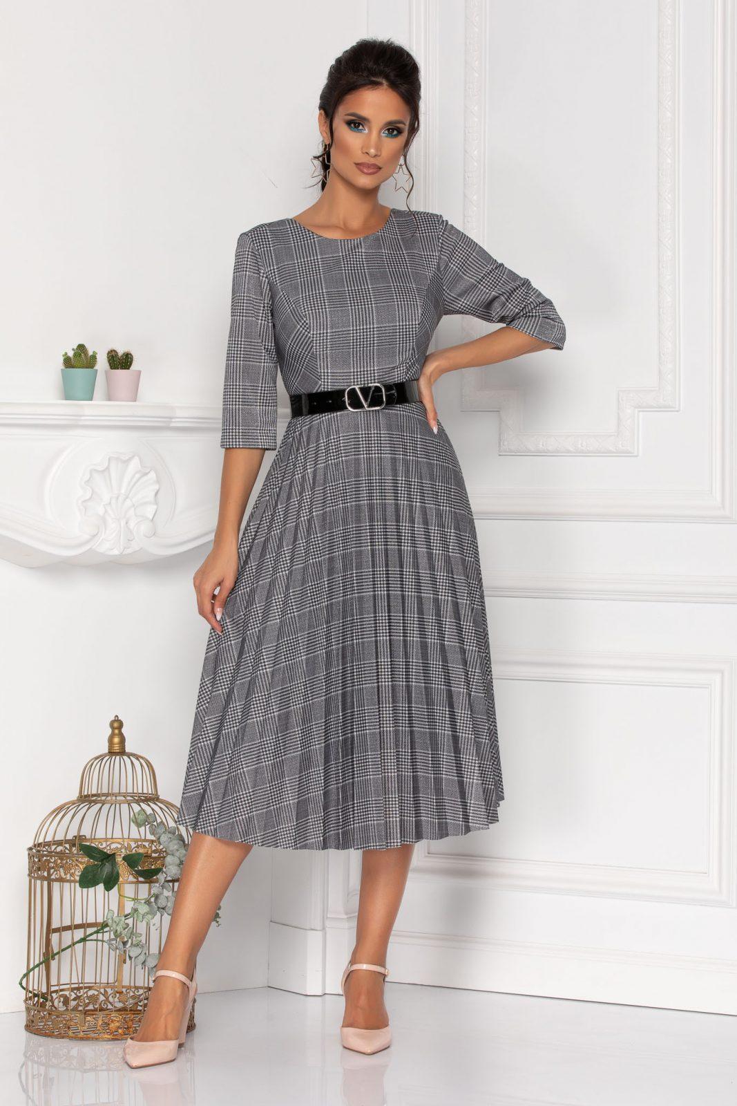 Γκρι Καρό Φόρεμα Με Ζώνη Abigail 8455 1