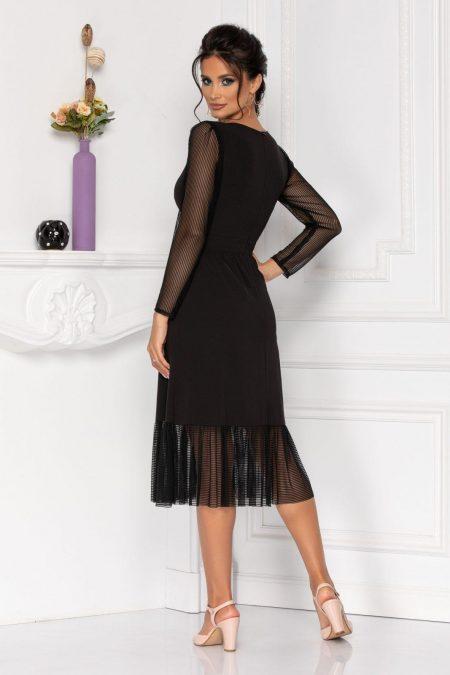 Μίντι Μαύρο Φόρεμα Με Μανίκι Moze Heather 8440