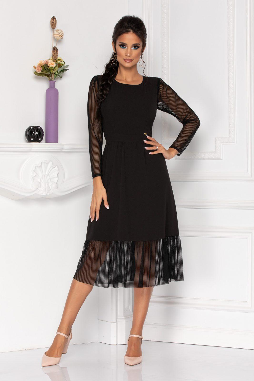 Μίντι Μαύρο Φόρεμα Με Μανίκι Moze Heather 8440 1
