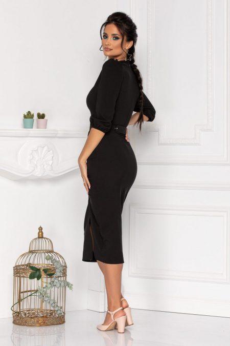 Μαύρο Φόρεμα Με 3/4 Μανίκι Fiorella 8461