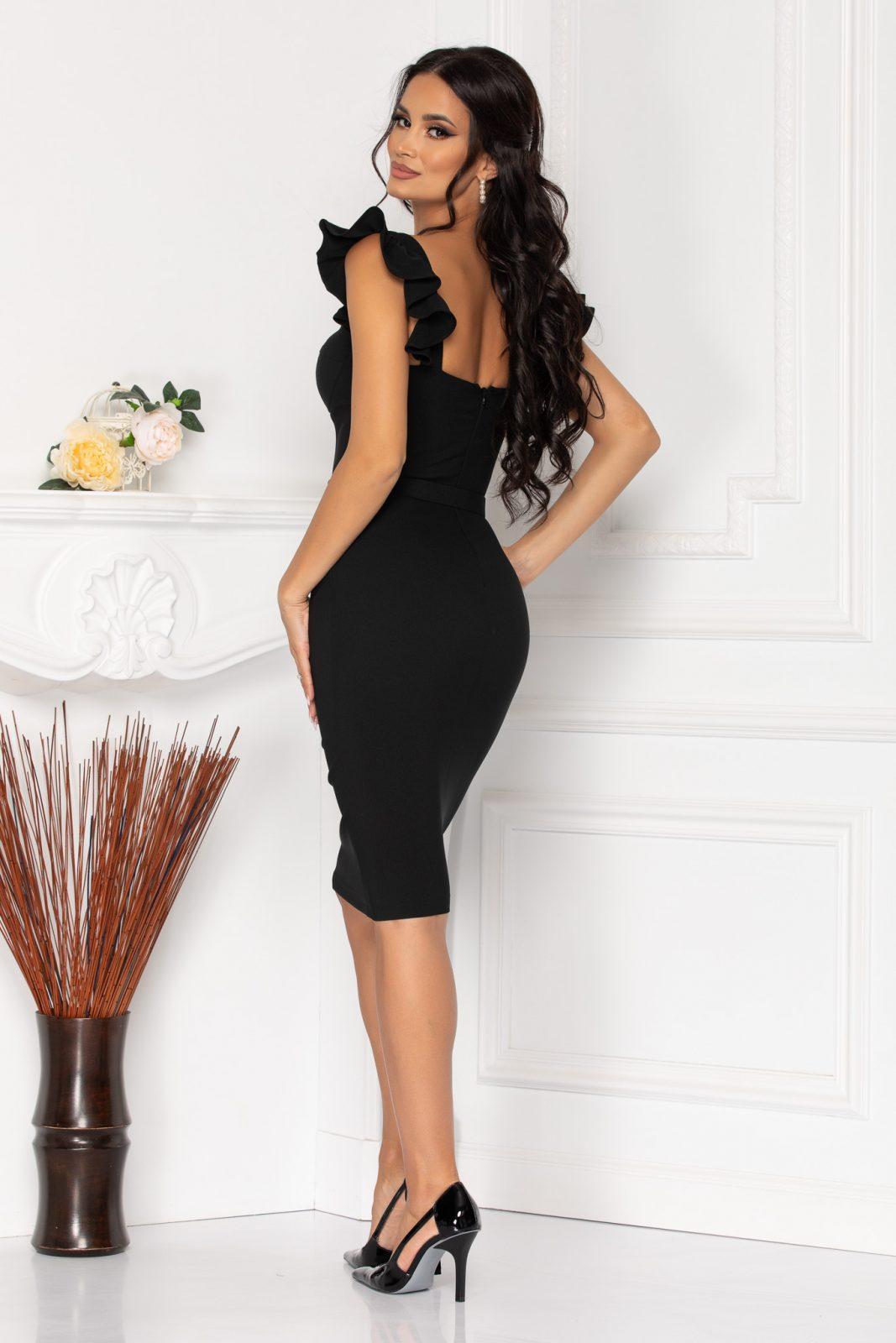 Μίντι Μαύρο Βραδινό Φόρεμα Beatrix 7979 1
