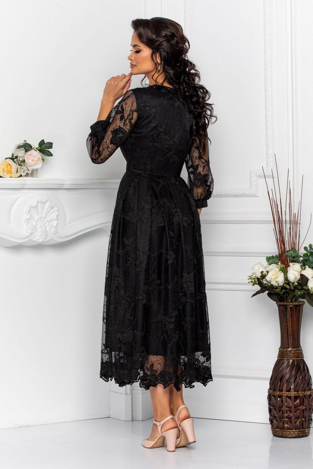 Μαύρο Φόρεμα Με Δαντέλα Cybill 8550