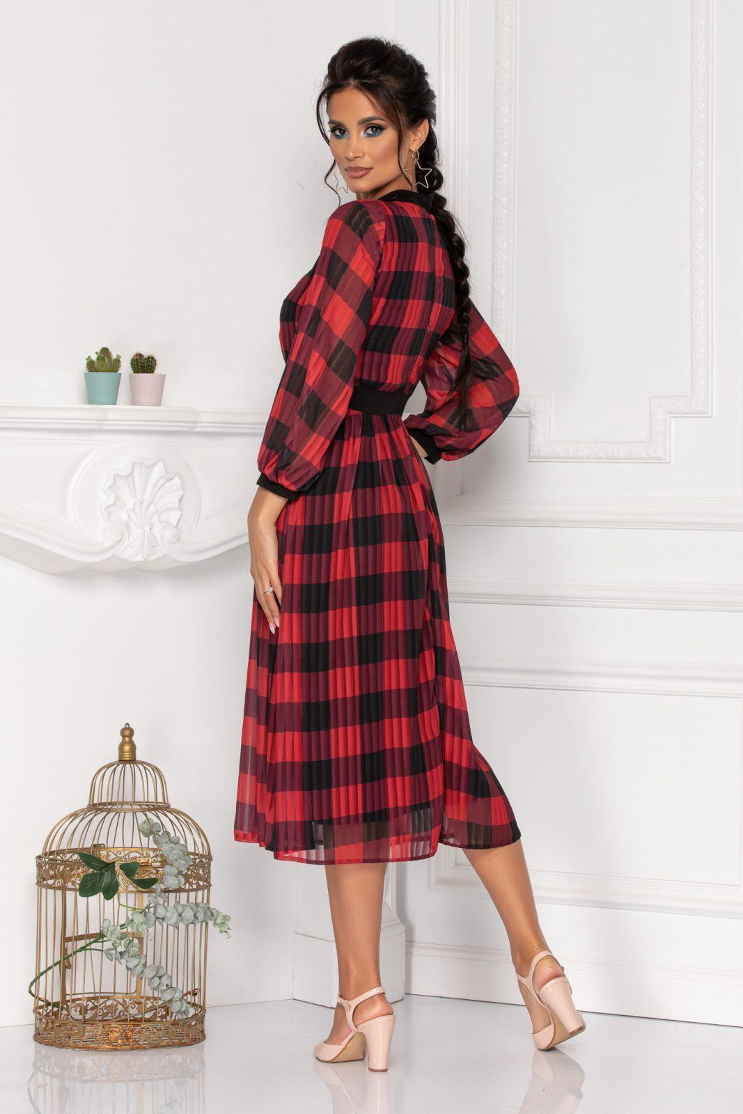 Κόκκινο Καρό Φόρεμα Moze Parisa 8434