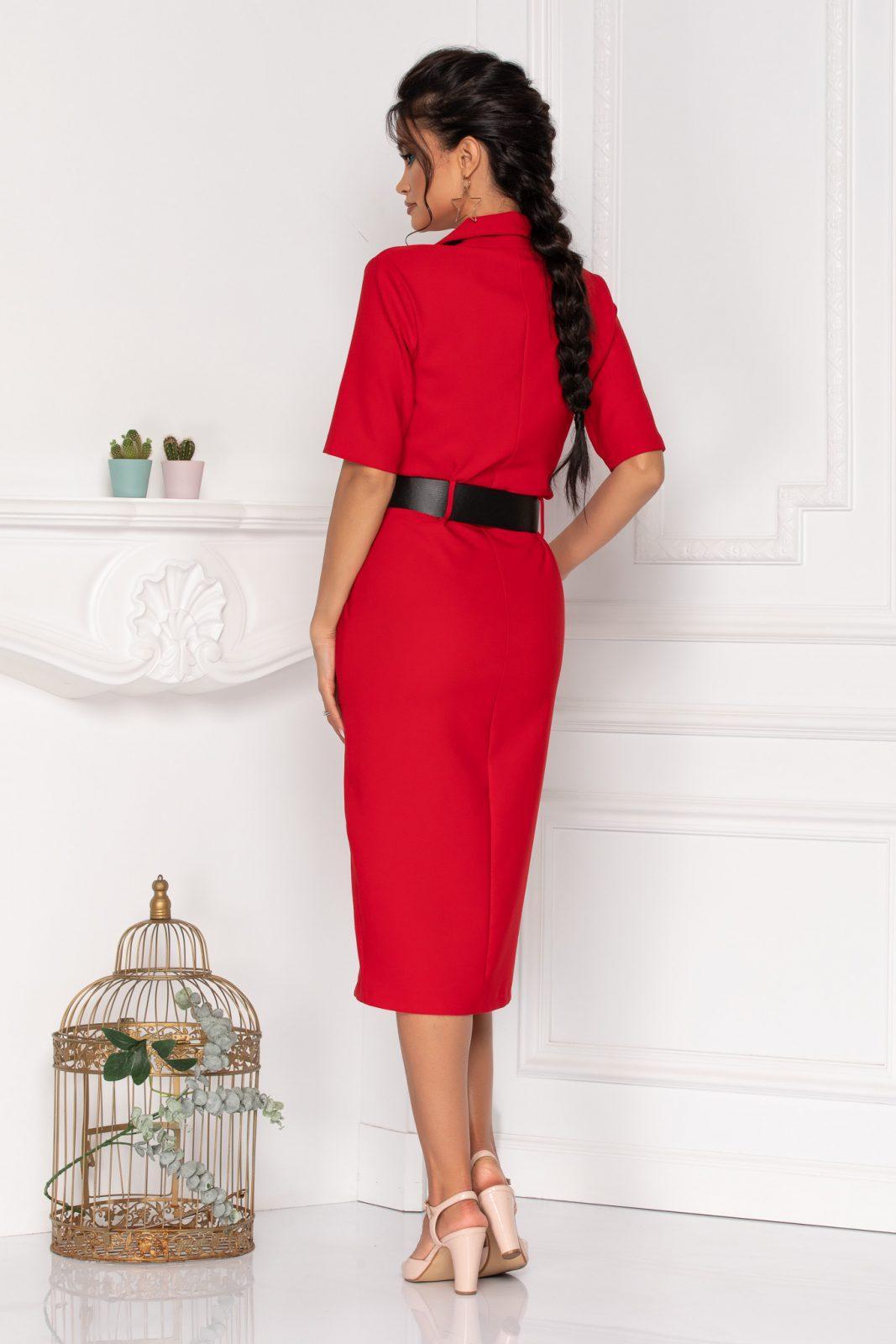 Μίντι Κόκκινο Φόρεμα Με Ζώνη Onda 8462