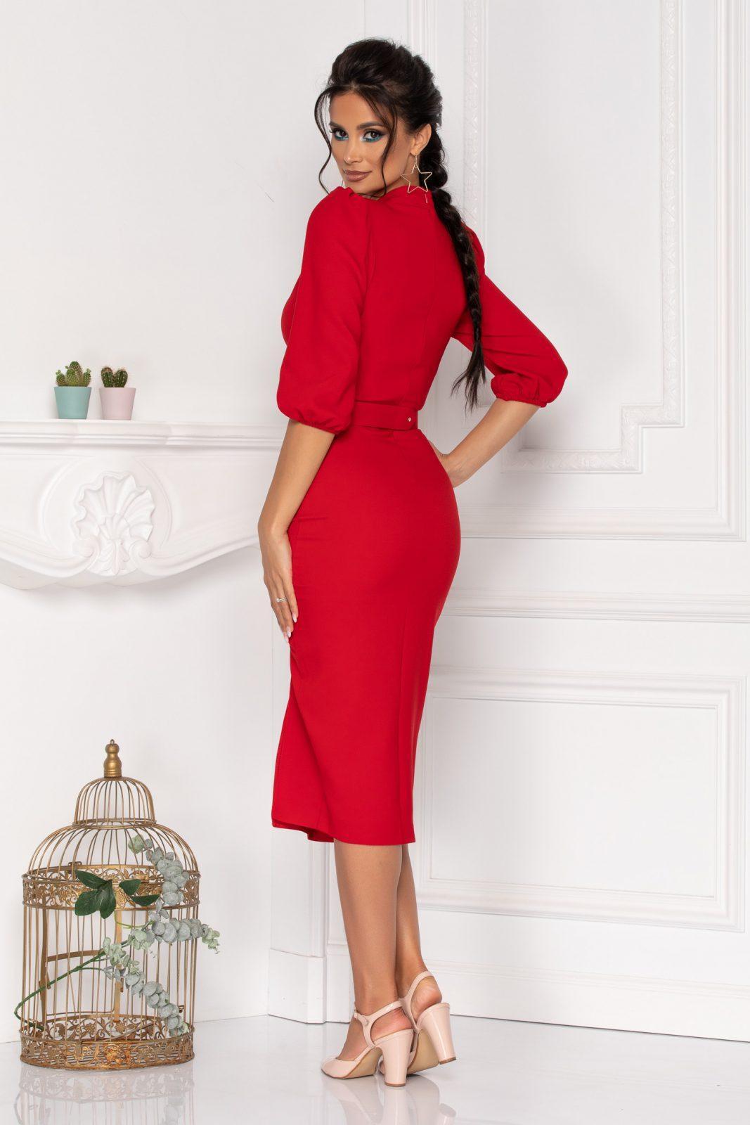 Κόκκινο Φόρεμα Με 3/4 Μανίκι Fiorella 8460 1