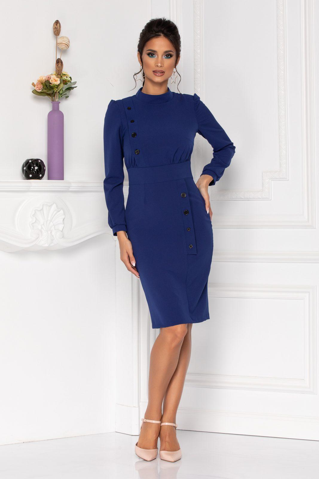 Μπλε Φόρεμα Με Κουμπιά Moze Geneve 8422 2