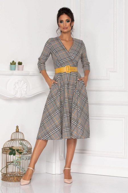 Γκρι Φόρεμα Με Κίτρινη Ζώνη Viviette 8157