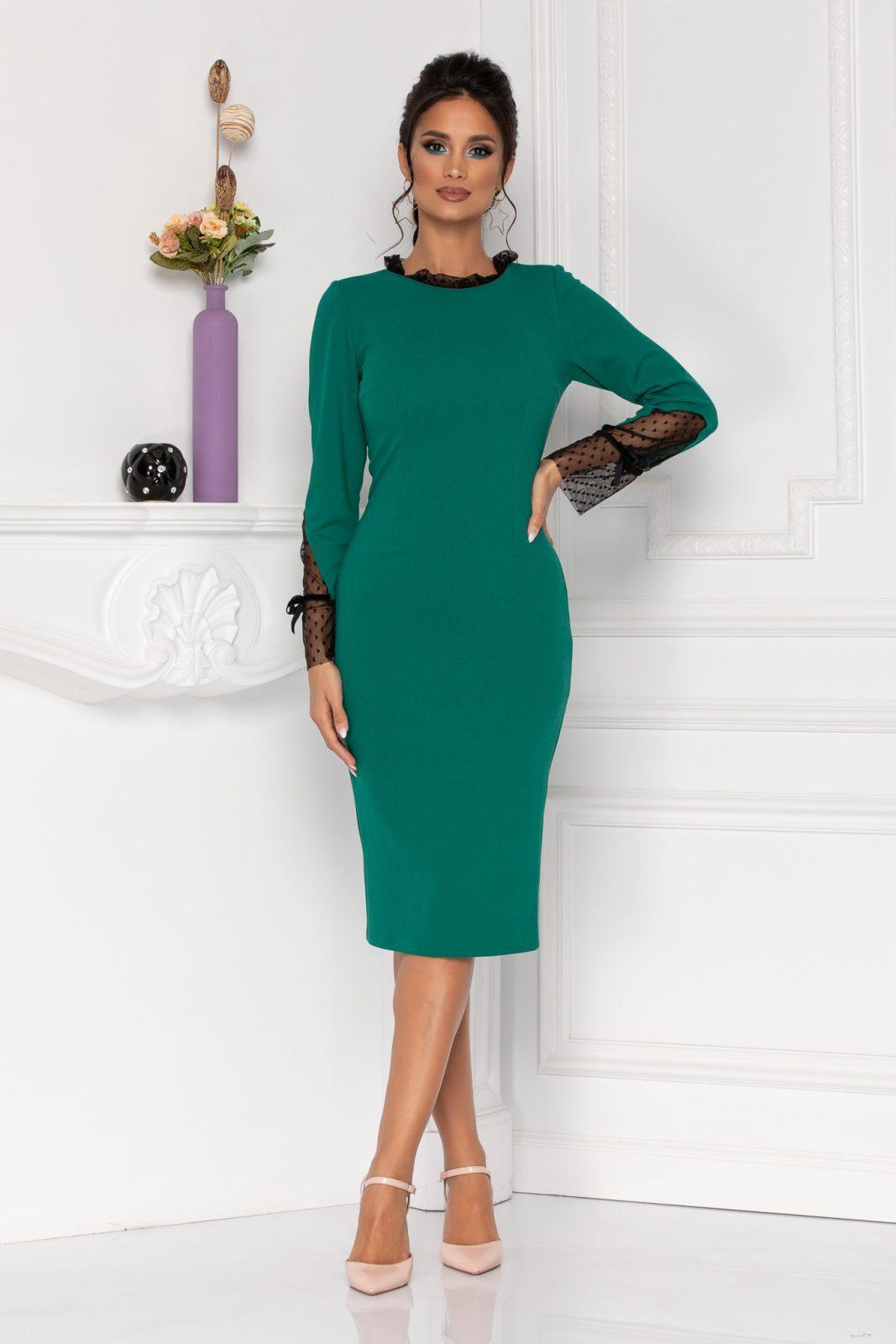 Μίντι Πράσινο Φόρεμα Με Μακρύ Μανίκι Moze Dalia 8433