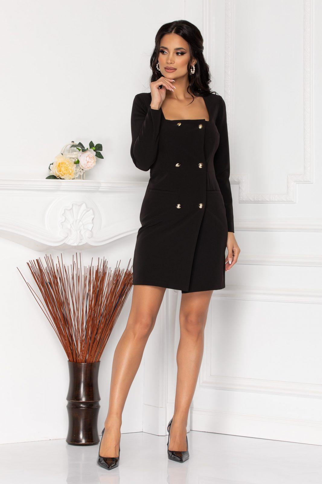 Μαύρο Φόρεμα Με Κουμπιά Penny 8507 2