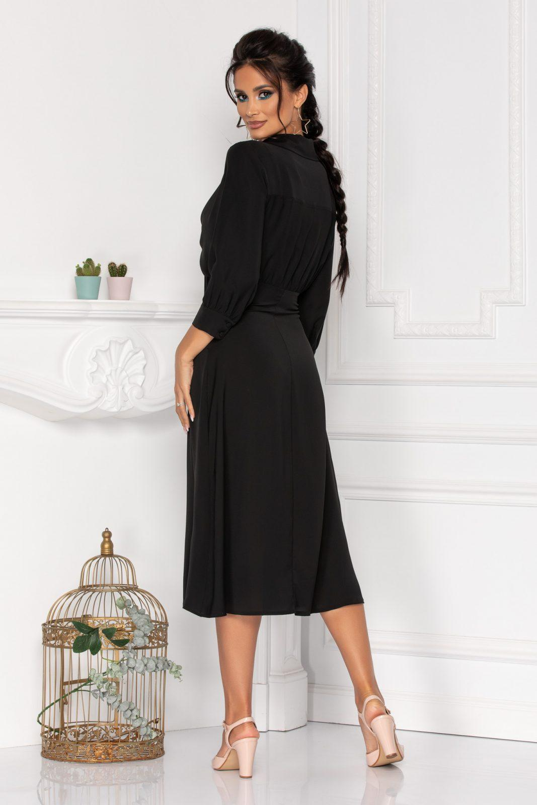Μαύρο Μίντι Φόρεμα Με Φιόγκο Kalina 8444