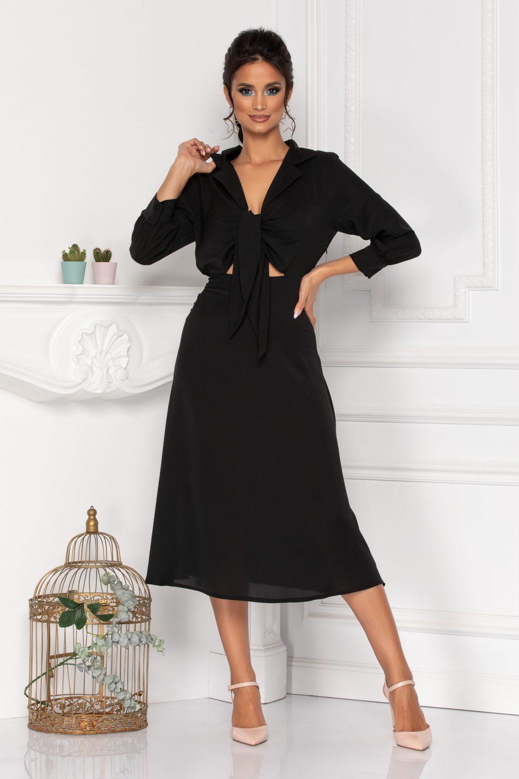 Μαύρο Μίντι Φόρεμα Με Φιόγκο Kalina 8444 1