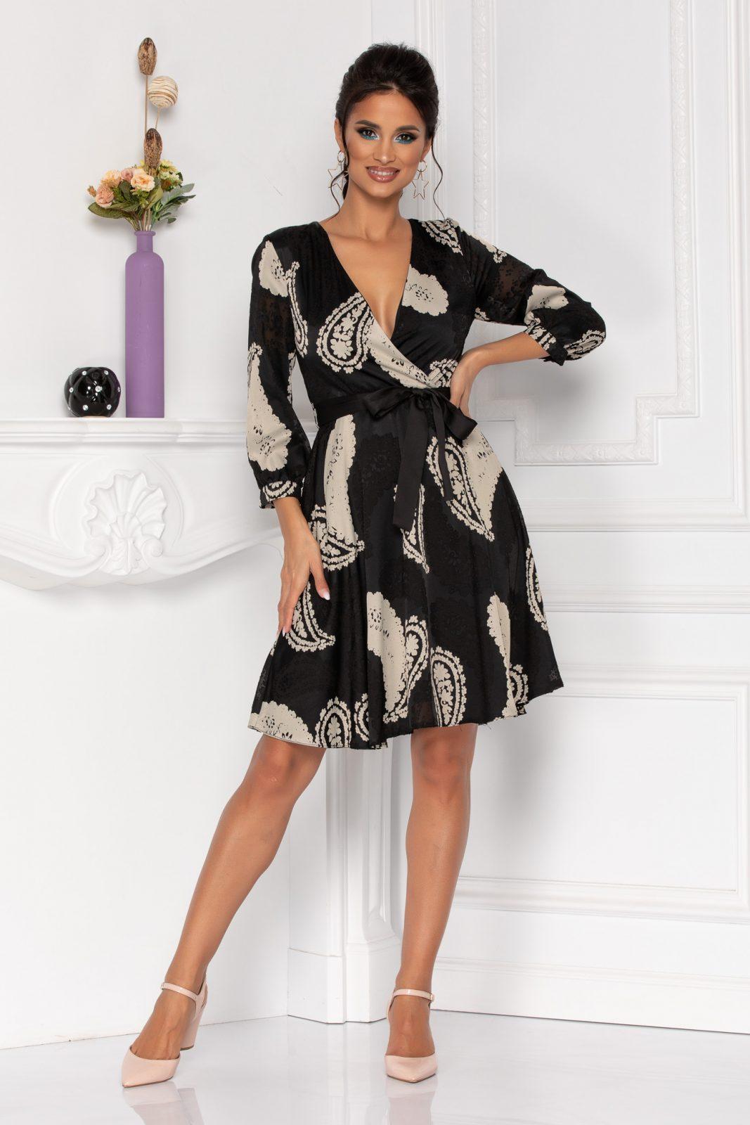 Μαύρο Βραδινό Φόρεμα Κρουαζέ Beverly 8473 2