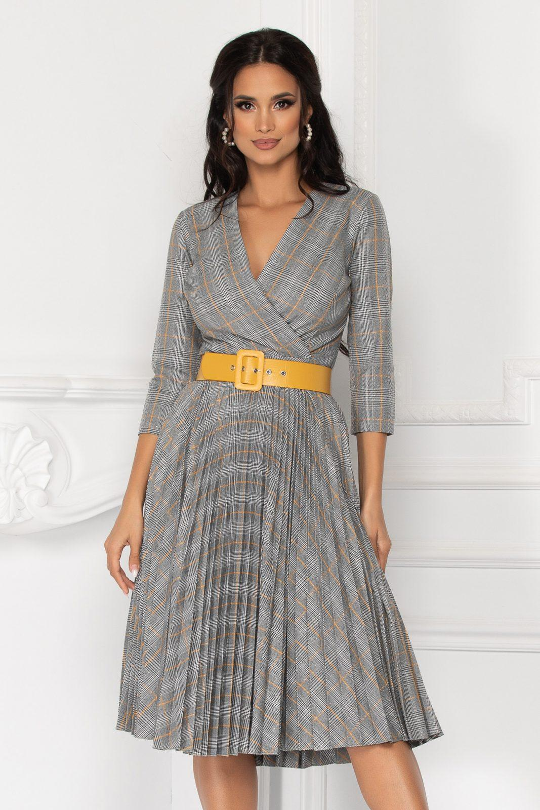 Γκρι Καρό Πλισέ Φόρεμα Με Ζώνη Stephanie 8128