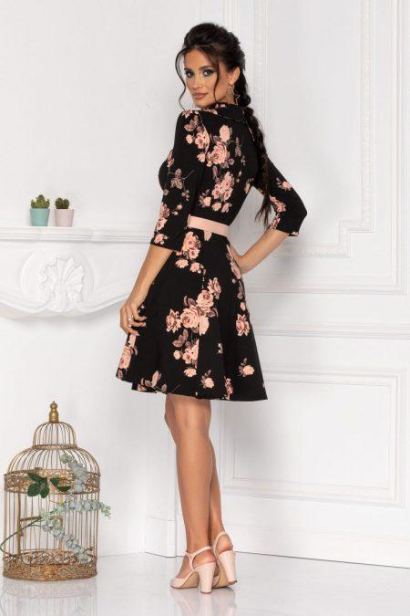 Μαύρο Φλοράλ Φόρεμα Martha 8457