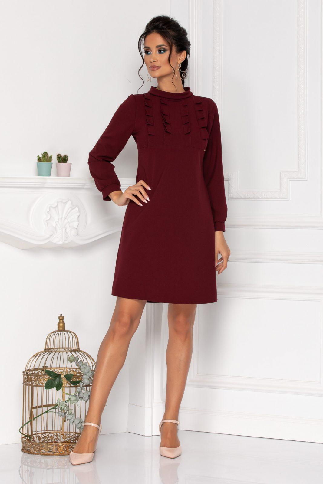Μπορντό Φόρεμα Με Βολάν Moze Rochelle 8425