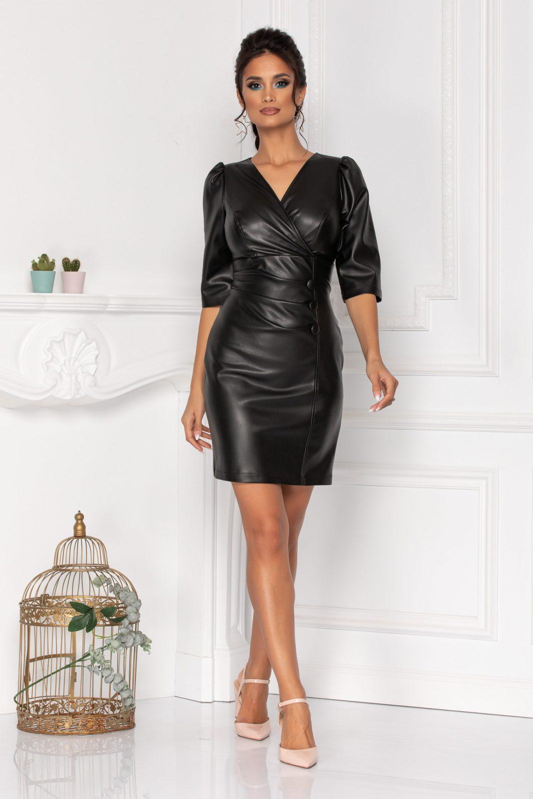 Μαύρο Φόρεμα Από Δερματίνη Willow 8454