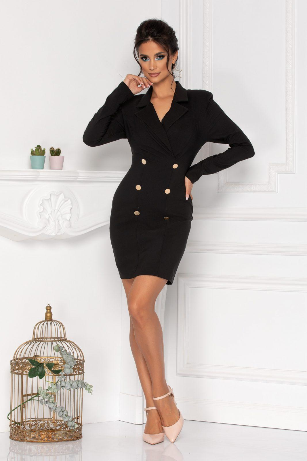 Μακρυμάνικο Μαύρο Φόρεμα Με Κουμπιά Klara 8451