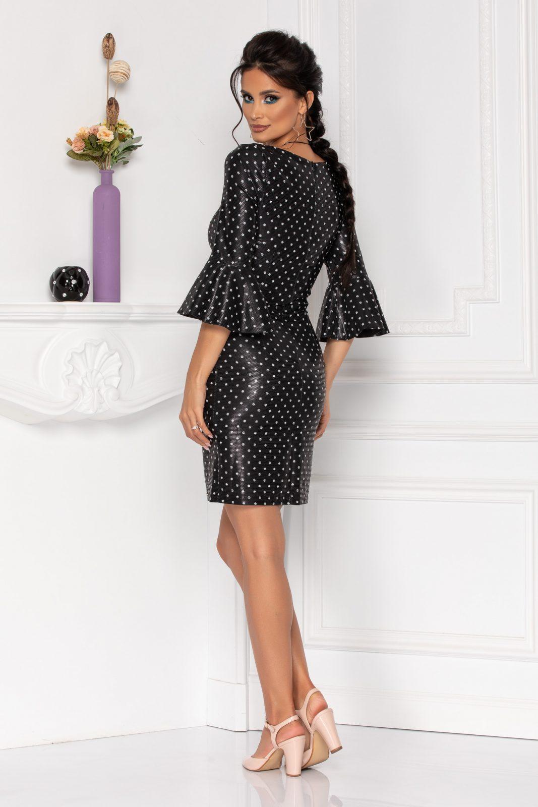 Μαύρο Πουά Φόρεμα Με Βολάν Agnes 8475 2