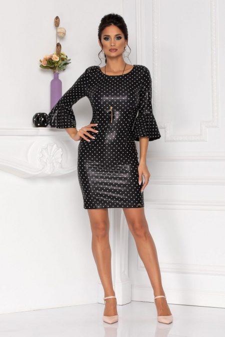 Μαύρο Πουά Φόρεμα Με Βολάν Agnes 8475