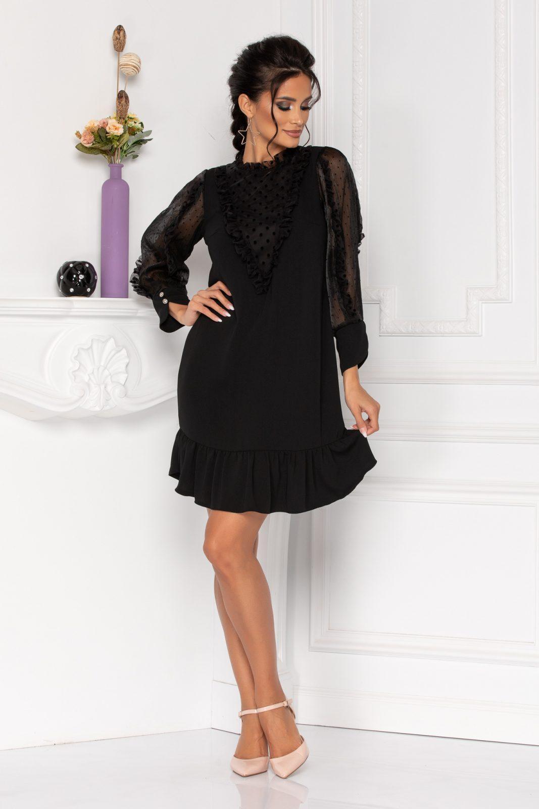 Μαύρο Βραδινό Φόρεμα Με Βολάν Moze Lineea 8439