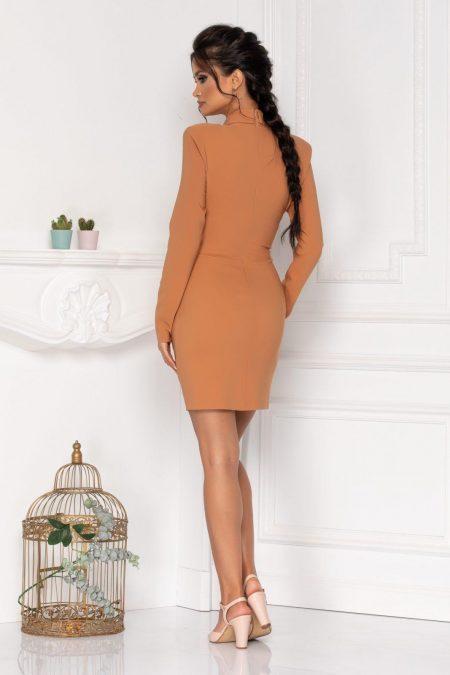 Μακρυμάνικο Kαραμελέ Φόρεμα Με Κουμπιά Klara 8452