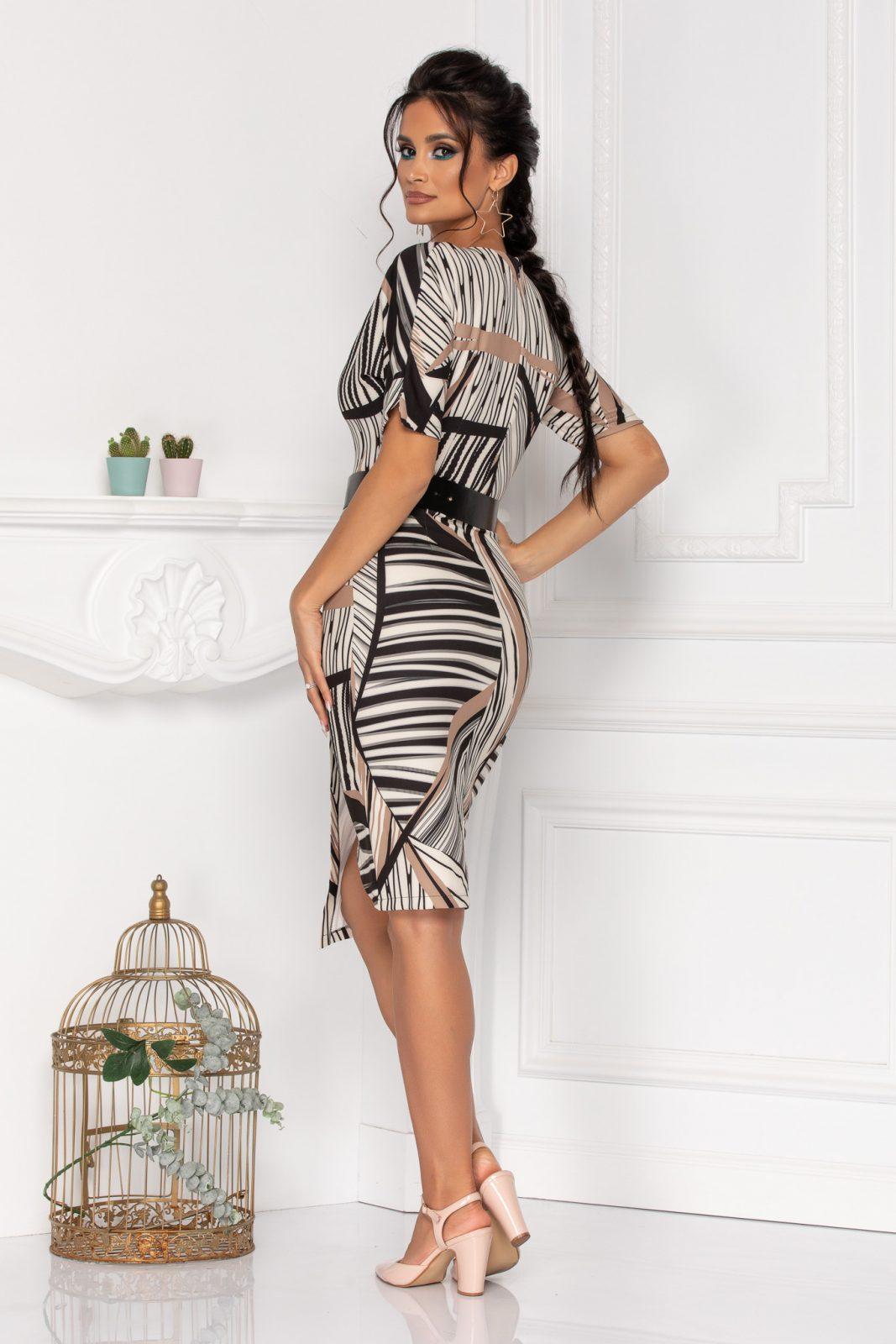 Μίντι Μπεζ Κρουαζέ Φόρεμα Vista 8416 2