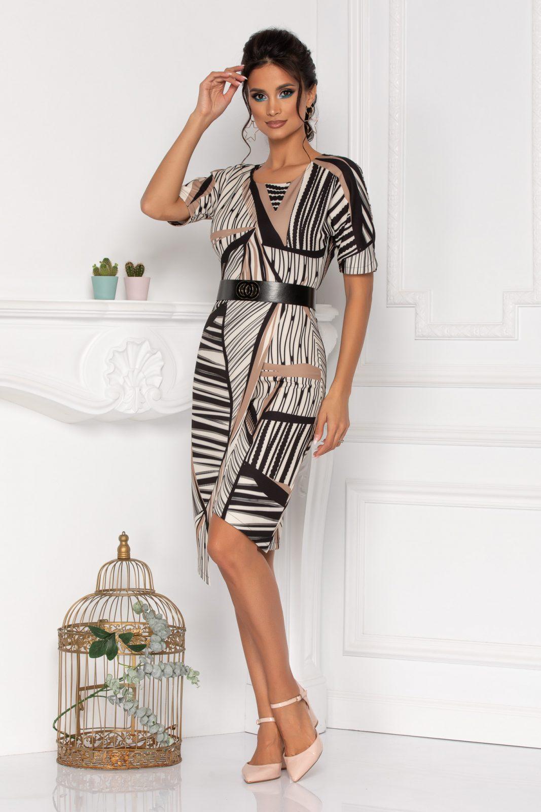 Μίντι Μπεζ Κρουαζέ Φόρεμα Vista 8416 1