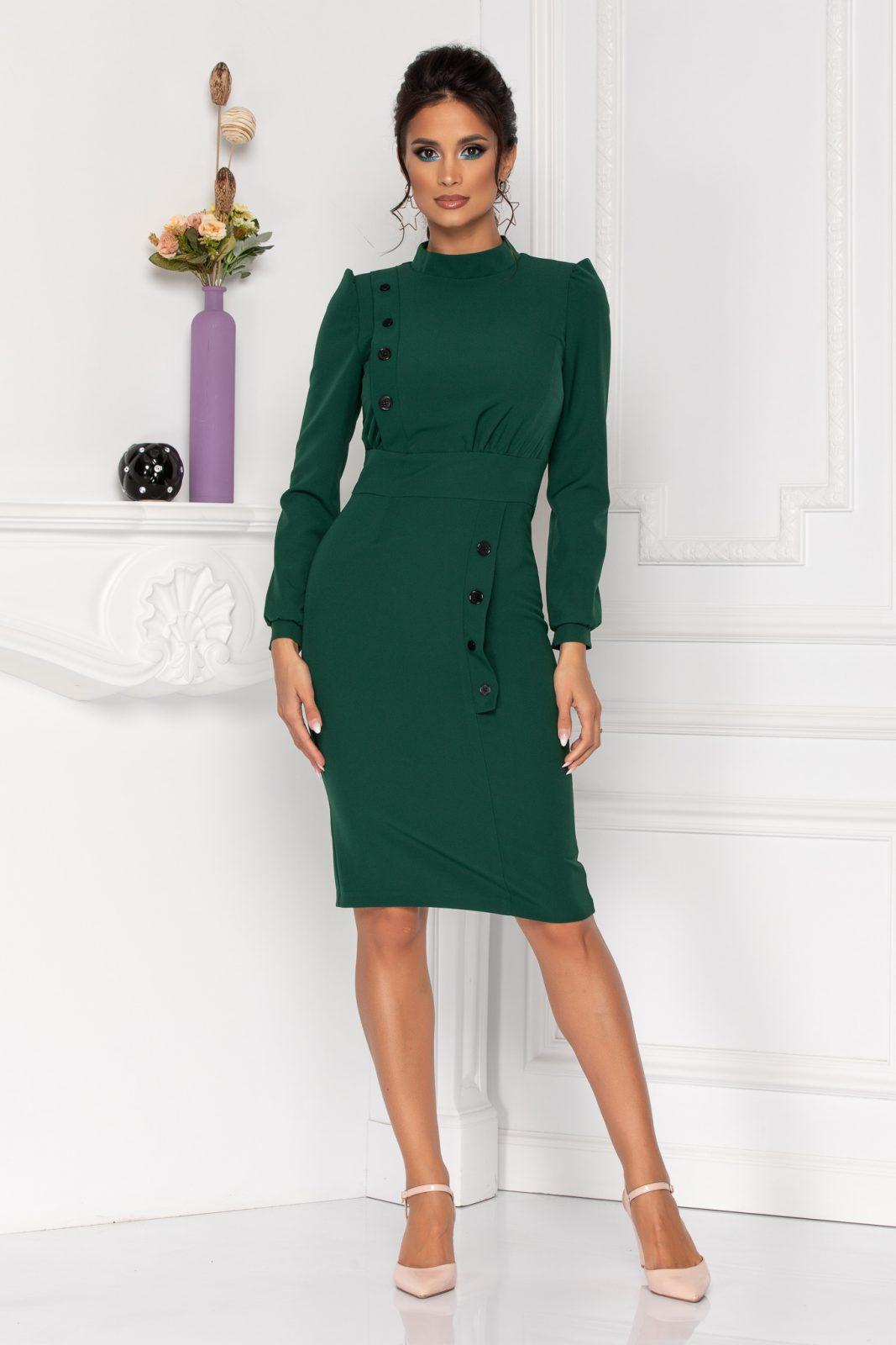 Πράσινο Φόρεμα Με Κουμπιά Moze Geneve 8421 2