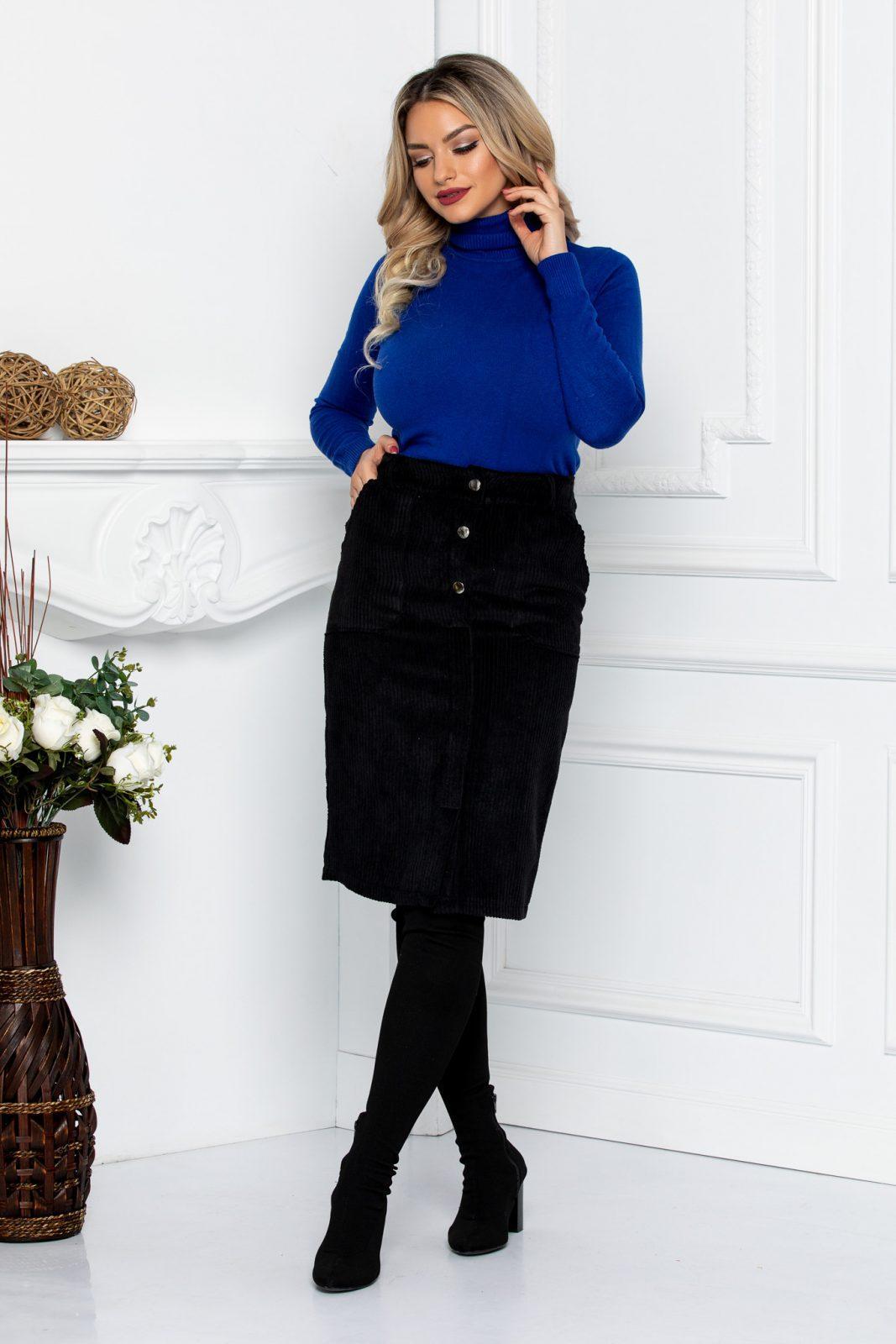 Μαύρη Φούστα Κοτλέ Με Κουμπιά Moni 8646