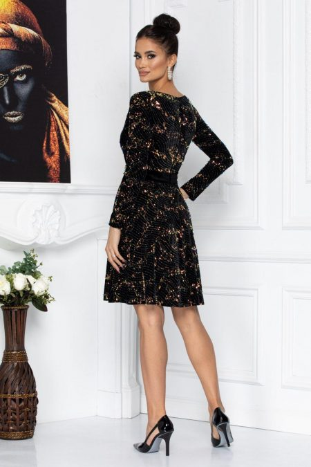 Μαύρο Φόρεμα Από Βελούδο Με Πούλιες Millie 8712