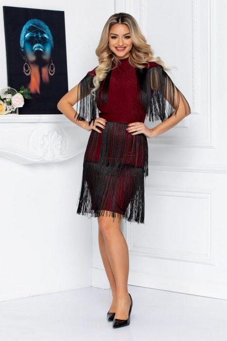 Μπορντό Βραδινό Φόρεμα Με Κρόσσια Party 8718