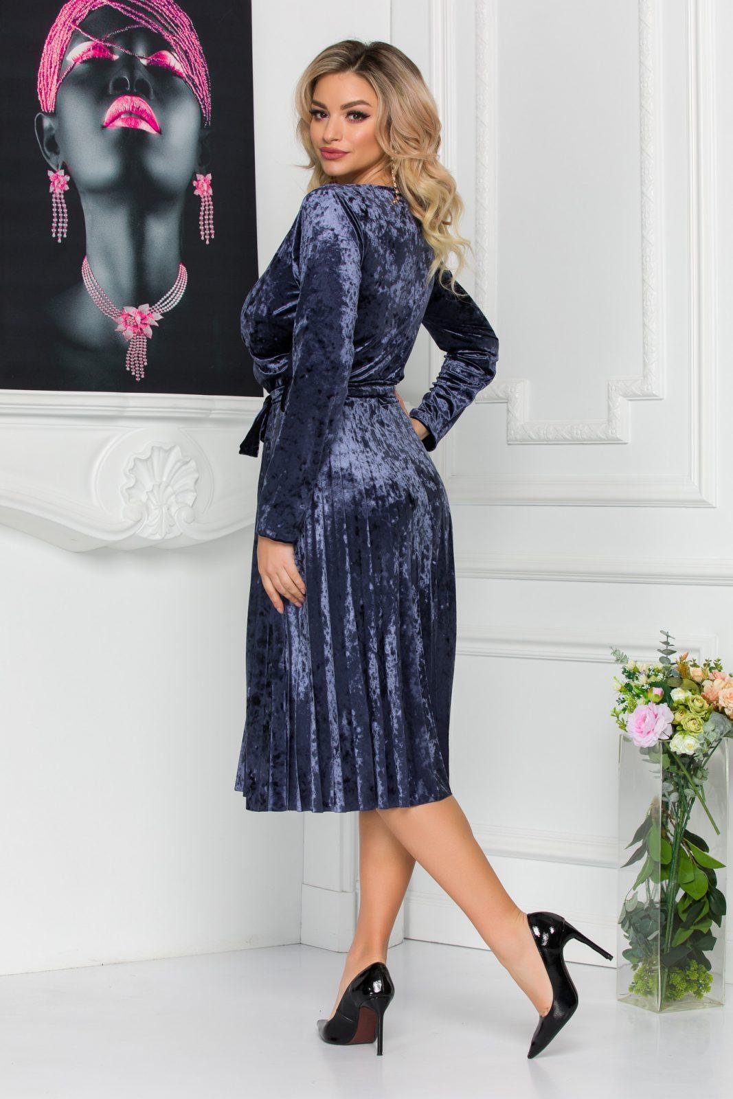 Γκρι Πλισέ Φόρεμα Από Βελούδο Barbara 8818 1