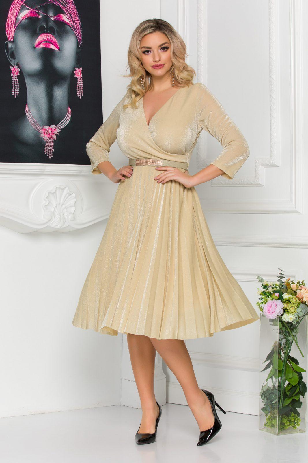 Nude Πλισέ Βραδινό Φόρεμα Emina 8809 1